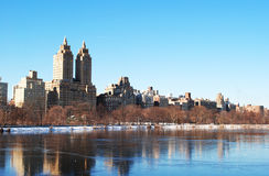 Winter in Central Park. Central Park ( West Side ) Winter 2013. View of Jackie Onassis Reservoir Stock Images
