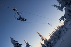 Winter chair lift Stock Images