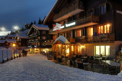 Winter Chalet Hotel In Switzerland Royalty Free Stock Photo