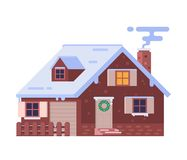 Winter Chalet House with Smoking Chimney vector illustration