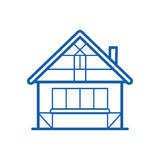 Winter Chalet Thin Line Icon royalty free illustration