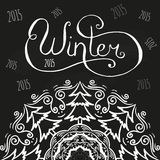 Winter chalk lettering. On black background Stock Photos