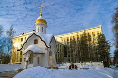 Winter Chapel in Ukhta, Russia royalty free stock images