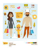 Winter Characters Set Royalty Free Stock Photo