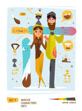 Winter characters set Royalty Free Stock Images