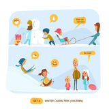 Winter characters set. Sport Stock Photography