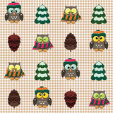 Winter checked pattern with cute owls. Vector seamless winter checked pattern with little cute owls dressed in scarfs and hats Stock Images