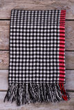 Winter checkered scarf with fringe. Royalty Free Stock Images