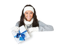Winter: Cheerful Girl with Holiday Gifts Royalty Free Stock Photography