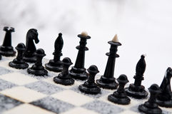 Winter chess pieces Royalty Free Stock Photo