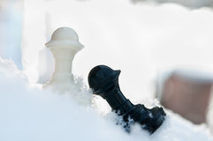 Winter chess pieces Stock Photography