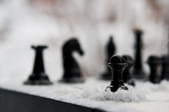 Winter chess pieces pawn Royalty Free Stock Image