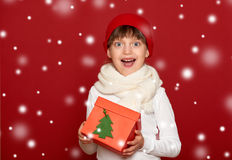 Winter, child,  christmas concept - happy girl in hat with box g Stock Images