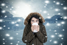 Winter. Child with clothes in snowy landscape Stock Photo