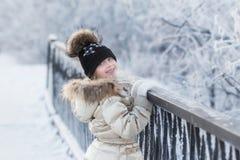Winter, child, cold, snow, childhood, girl, portrait, hat, fun, white, season, joy, kid, holiday, happy, nature, cheerful, beautif. Little girl enjoying a day Royalty Free Stock Image