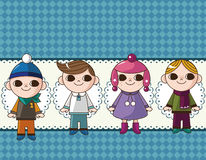 Winter children card Stock Photo