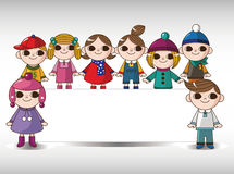 Winter children card Stock Images
