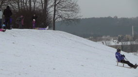 Winter children hill stock footage