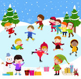 Winter children playing Royalty Free Stock Photography