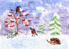 Winter. Children's drawing (water color, wax pieces of chalk) Royalty Free Stock Images
