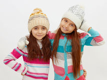 Winter children's holiday.two little girls Royalty Free Stock Photo