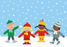 Winter and children Stock Image