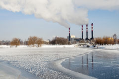 Winter chimneys landscape Royalty Free Stock Photos