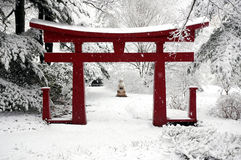 Winter Chinese Garden. Chinese Garden in the winter royalty free stock photo