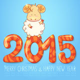 Winter chinese new year card with cartoon sheep. Cute winter chinese new year card with cute cartoon sheep and 2015 figures Royalty Free Stock Images