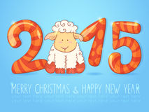 Winter chinese new year card with cartoon sheep Royalty Free Stock Images