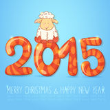 Winter chinese new year card with cartoon sheep. Cute winter chinese new year card with cute cartoon sheep and 2015 figures vector illustration