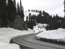 Winter on Chinook Pass. The highway over Chinook Pass in the winter royalty free stock photo