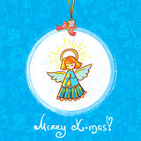 Winter Christmas Angel. Colorful and gentle christmas girl angel wishes merry xmas and happy new year Stock Illustration