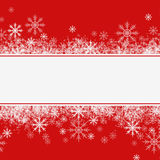 Winter or Christmas arrangement with snowflakes. On red background Royalty Free Stock Photos