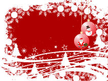 Winter / christmas background. Vector illustration of christmas baubles on a winter background Royalty Free Stock Images