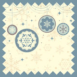 Winter Christmas background. A vector illustration of winter background with Christmas ornament and snow flakes Royalty Free Stock Images