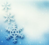 Winter, Christmas background with big snowflakes Royalty Free Stock Images
