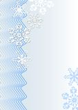 Winter christmas background in blue design with waves and snowflakes Royalty Free Stock Image
