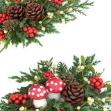 Winter and Christmas Fantasy Background. Winter and christmas background border with  fly agaric mushrooms, holly, mistletoe, ivy, cedar and juniper leaf sprigs Stock Images