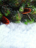 Winter Christmas background. Christmas boarder with fir tree branch with cones on the snow. Winter holidays concept. Winter Christmas background. Christmas royalty free stock photography