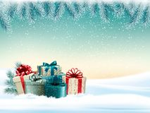 Winter christmas background with colorful presents Stock Photography