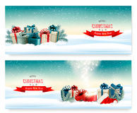 Winter christmas background with colorful presents Royalty Free Stock Image