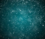 Winter Christmas background. Falling snowflakes and stars Royalty Free Stock Photography