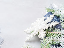 Winter christmas background with fir tree snow branches Stock Photos