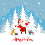 Winter Christmas background. Holiday Christmas background for banners, advertising, leaflet, cards, invitation and so on. Santa Claus, snowman cartoon characters Stock Photography