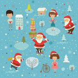 Winter Christmas background with kids and Santa Stock Images
