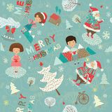 Winter Christmas background with kids and Santa Royalty Free Stock Photography