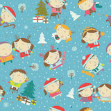 Winter Christmas background with kids and Santa Stock Photo