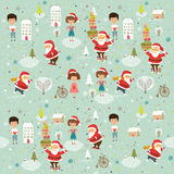 Winter Christmas background with kids and Santa Royalty Free Stock Photo