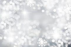 Winter Christmas background, silver, bokeh, blurred, white snowflakes, round spot, season, new year, beautiful silver. Abstract background beautiful silver stock illustration